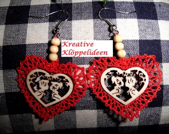 Handmade bobbin lace earrings with wood picture