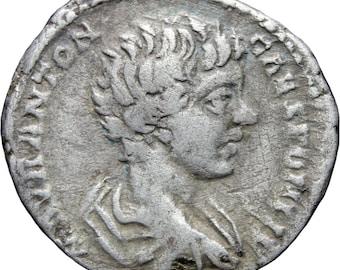 195-197 AD. Roman Empire Caracalla Silver Denarius Coin