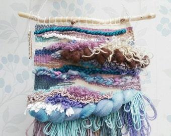 Woven Wall Art 'Marianne' ~ Fibre Art ~ Weaving ~ Tissage ~ Wall Decor ~ Whimsical Decor ~ Blue & Purple ~ Textural Wall Art ~ One of a Kind