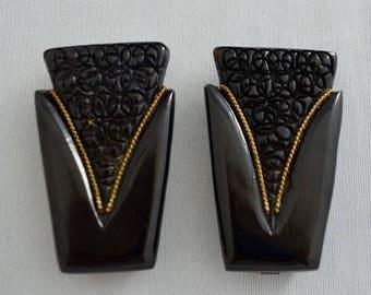 Bakelite Art Deco dress clips