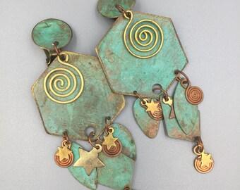 Verdigris Enamel Dangle Earrings, Vintage 1980s, Shoulder Sweepers, Geometric, Stars, Spirals, Copper, Brass, Clip On Earrings