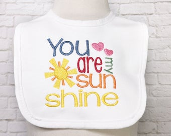 You Are My Sunshine - Sunshine - Little Miss Sunshine -Sunshine Baby Shower - Girl Baby Shower - Embroidered Bibs - Baby Shower Gifts - Sun