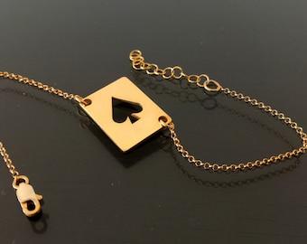 Gold poker bracelet ,18k poker chain bracelet, Gold poker bracelet, poker charm symbol,Ace of spades bracelet, gold playing card bracelet