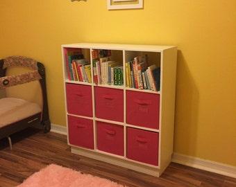 Solid Wood Cubby Storage Book Shelf