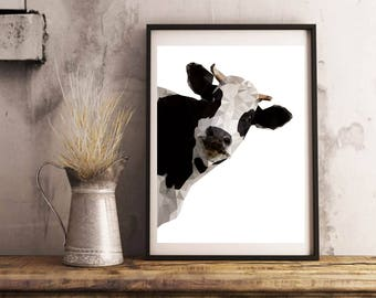 Cow print, geometric animal print, nursery animal art, farm animal art, farm animal picture, cow picture, animal poster, printable photo