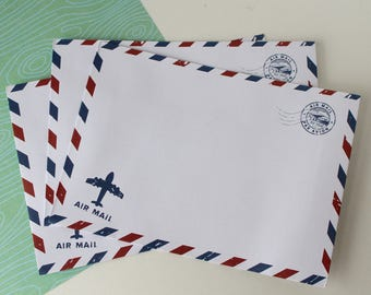 Air Mail envelopes/ pack of 5/Snail Mail Envelopes thank you notes/ Travel wedding wishes idea