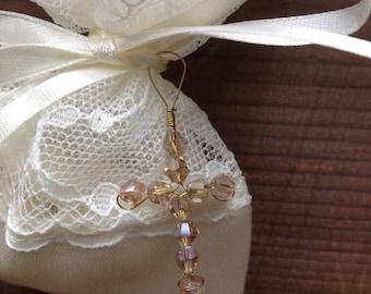 Baptism favor embellishment, crystal beaded cross charm, Cross Charm for Christening, Handmade, SET of 10