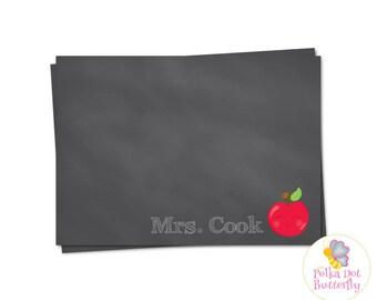 Teacher Note Card, Apple Note Card, Chalkboard Note Card, Teacher Stationery, Apple Stationery, Chalkboard Stationery, Printable Note Cards