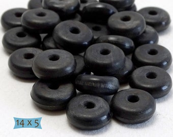 Simple Large Thin Black Horn Spacers--10 Pcs | 28-HR202-10