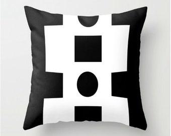 """throw pillow cover, Decorative Pillow, Geometric Kids Pillow, Modern Nursery Pillow, Throw Pillow, black & White Pillow 18"""" x 18"""""""