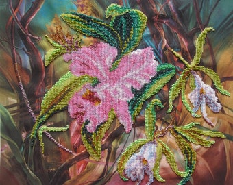 "Embroidery with beads ""Orchid"" 12 ""x10"" on fabric, embroidered with Czech and Japanese beads, handmade, Flowers, picture from beads"