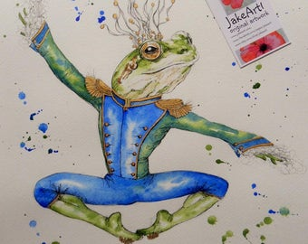 Frog prince original fantasy art, dancing frog art, fantasy frog art, fairytale art, gift for her, fantasy artwork, ballet dancer art