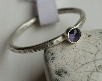 Silver Stacking Ring with 4mm Round Amethyst Size 5.25 (J/K) - Postage Included