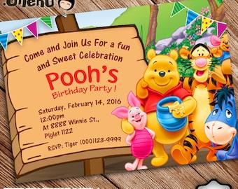 SALE 50% OFF Winnie the Pooh Birthday Invitation - Printable - Pooh Invitation for Kid - Pooh Invite - Pooh Party - Pooh Celebration