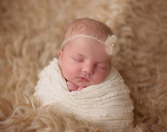 Newborn Tieback, Lydia Tieback, CREAM, Mohair Pearl Tieback, Photography Prop, Accessories, Newborn Photo Prop