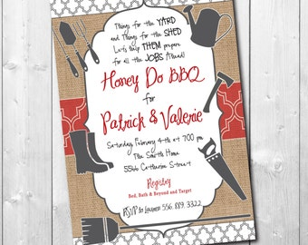 HONEY DO BBQ Invitation printable/Digital File/I do bbq, honey do shower, tool shower, handyman shower, couples/Wording can be changed