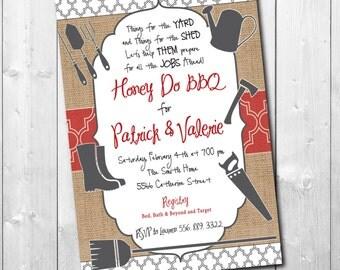 HONEY DO BBQ Invitation printable/Digital File/I do bbq, honey do shower, tool shower, handyman shower, couples/Wording can be changed