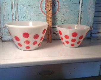 Red polka dot FIREKING bowls