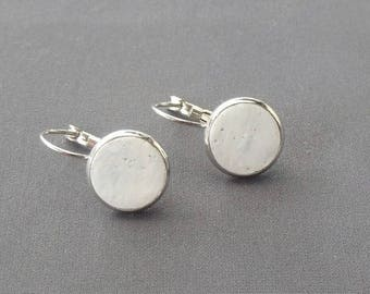 Palest Blue Silver Plated Circle Drop Earrings DE20