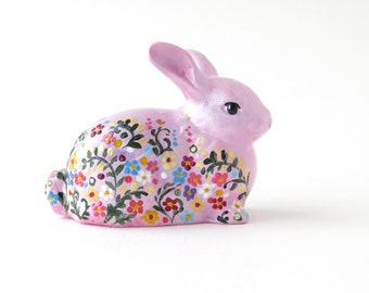 Hand painted bunny Gift for mother Ceramic figurine bunny Easter rabbit Cute bunny Porcelain figurines collectible Miniature bunny figurine