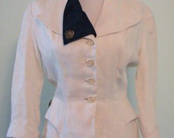1940s Jacket Nautical Harmell Patriotic Linen