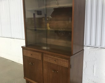 Small Vintage Mid Century Modern China Cabinet Hutch Buffet Credenza Walnut MCM
