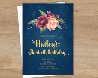 Marsala Birthday Invitation / Peonies, Berries, Navy Chalkboard, Blush Ranunculus, Thirtieth Birthday▷ Printable File {or} Printed & Shipped