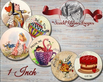 ALICE IN WONDERLAND Vintage bottle cap images 1 inch round circles -  Digital Collage Sheet -Set of 15 - Cupcake Toppers,Pendants, Hair Bows