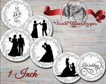 Wedding  Silhouette Black and White 1 inch Bottle Cap images -  600dpi  printable digital collage sheet, stickers,  magnets
