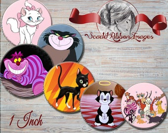 Disney Cats bottle cap images  1 inch circles - digital collage sheet - bottle cap images, buttons, tags, scrapbooking, cupcake toppers