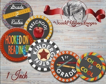 Teacher or school days, grade stickers for Bottle Cap Images 1 inch round circles