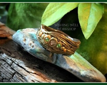 Polymer Clay Green & Blue Woodland Fantasy Ring