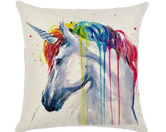 Unicorn Rainbow Horse Pillow Cushion Cover Linen Cotton Shabby Chic