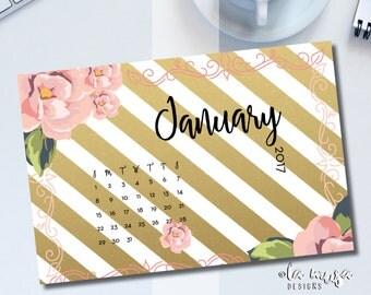 2017 DESK CALENDAR | VENUS {Pink and Gold} {Floral} {Desktop Calendar} {Printable} {Month per Month} {5x7}