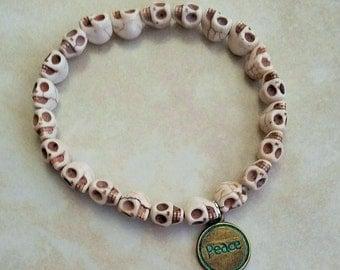 White Turquoise Skull Beads Patina Peace Charm Elastic Bracelet 7 Inches
