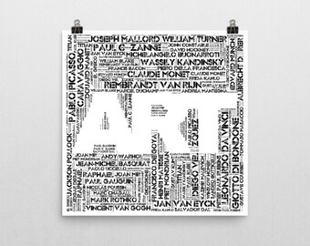 Art Word Cloud Print - Made up of 50 world famous artists