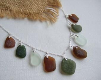 Scottish sea foam green & brown sea glass necklace on 24'' sterling silver, sea glass necklace, green sea glass, sea glass jewelry, mixed