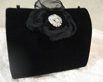 Vintage Rhinestone Evening Bag, Vintage Rhinestone Evening Purse, Vintage Evening Bag, Black Velvet Evening Bag, Black Velvet and Rhinestone