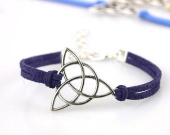 Irish triangle bracelet Silver triquetra charm Religious trinity jewelry Celtic symbol Gift for friend Irish ornament St Patricks day gift