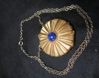 Faux Lapis Cabochon Solid Perfume Pendant(651)