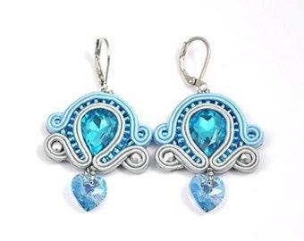 Blue Heart Earrings, Light Blue Soutache, Medium Earrings, Blue Jewelry, Valentines Gift For Her, Blue Gray Earrings, Statement Earrings