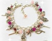 Pink Fairy Charm Bracelet Fairy Bracelet Pagan Bracelet Wicca Fairy Nymph Folklore Fairy Princess CastleDragonflyCrown Rose Quartz