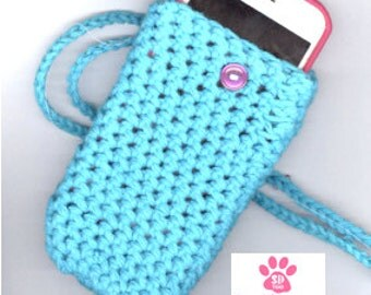 Crochet iphone Cozy,  Phone Sleeve, Cell Phone Sleeve ,Crossbody Cell Phone Case, Smartphone Case, Cell Phone Purse, Case for iphone