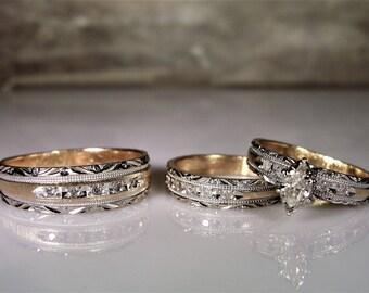 Vintage wedding ring set Etsy