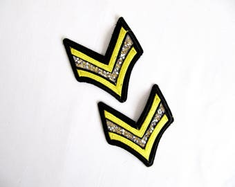 2Pcs.Gold Army Patch,Rhinestone  Emblem, Braid Military Stripe Patch,  Iron On Army Emblem, Embroidered Patches Applique