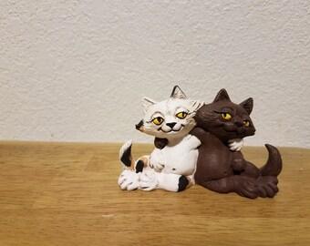 Ceramic cats (2) with attitude - Calico and Chocolate(#880)