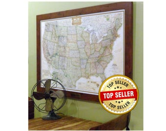 Framed Personalized United States Earth-toned Push Pin Map With Brass Plate Wedding Gift