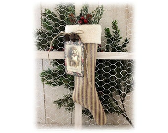 Christmas Stocking Ornament Accent Homepun Country Primitive