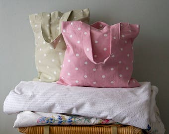 Pink / Green Spot Cotton Tote / Book Bags
