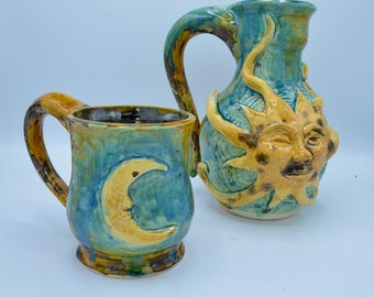 Sun Pitcher with two moon mugs